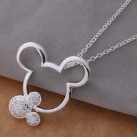 Wholesale Factory Price Pendants - Wholesale-fashion silver Mouse pendant necklace with crystal cute birthday gift for girls classic jewelry factory price
