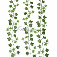 Wholesale Silk Flower Leaves Hanging - Wholesale-1pc Fake Vines Hanging for Wedding Green Leaves Silk Flower Vines Artificial Plants and Flowers for Home Christmas Decoration