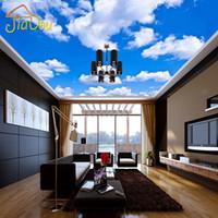 голубой потолок гостиной оптовых-Wholesale- Custom Ceiling Wallpaper Blue Sky And White Clouds Murals For The Living Room Bedroom Ceiling Background Wall Mural Wallpaper