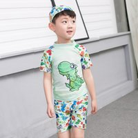 Wholesale Cap For Kids Pattern - 2017 New Arrival Boys Dinosaur Swimwear 3pc set Swim cap Top Pants 3colors Cartoon animal patterns swimsuit for kids 2-10T
