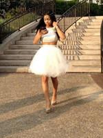 vestidos de dos piezas de tul al por mayor-Lo nuevo O-cuello Tulle dos piezas Homecoming Vestidos Mini Short 8th Grade Graduation Party Dresses Sweet 16 Vestidos Vestido De Fiesta