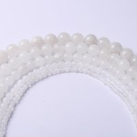 Wholesale White Chalcedony Beads - 4,6,8,10,12 AAAA+ wholesale round white natural Jasper Bead chalcedony loose stone beads For Bracelet DIY Jewelry Making