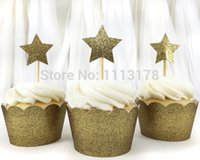 Wholesale Cheap Cupcakes Wrappers - cheap custom 30pcs cupcake wrapper Laser-Cut Cupcake Wrappers Birthday Party holders with gold star Glitter Cupcake Toppers Supplies
