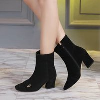 Wholesale Snow Boots Sheep - Luxury Sexy Womens Ankle Boot Black Winter Party Nightclub Sheep Leather Booties 75mm High Heels Ladies Shoes Free Shipping 35-39