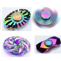 Wholesale Mini Windmill Toys - Colorful triangle windmill Diamond section butterfly fish finger spinner fingertip hand spinnners gyro decompression finger spinning top toy