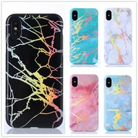 Wholesale Blue Laser Plastic - Hot selling Laser TPU Stone marble cell mobile phone case for iphone X 8 7 6S plus Bling plated back shell protective Rose gold chrome cover
