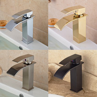 Wholesale Brushed Nickel Pull Out Faucets - Wholesale- Chrome Golden ORB Brushed Nickel Basin Sink Faucet Waterfall Brass Hot Cold Water Kitchen Mixer Taps One Hole