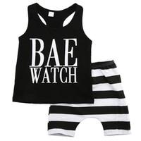 Wholesale toddler sport pants - Baby Unisex Clothing Toddlers Clothes Set Infant Sport Tracksuit Black Vest Shirt Striped Shorts Pants Outfit Kids Playsuit Summer Suit