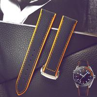 bracelet en cuir 22mm achat en gros de-Bracelet en nylon Bracelet de montre en cuir véritable pour Omega Planet Ocean 20mm Bracelet en cuir de veau 22mm Noir Orange Rouge Bleu avec outils