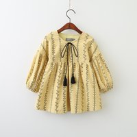 Wholesale Round Neck Belted Dress - Princess Dress Long Sleeve Cotton Tassel Bow Belt Round Collar Girls Dresses Leaf Printed Tree Sweet Girl Clothing Dress Blue Yellow A7240