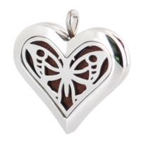 schmetterlingskette groß großhandel-Herz Big Butterfly 36mm Aromatherapie Ätherisches Öl chirurgischen Edelstahl Parfüm Diffusor Medaillon Halskette mit Kette und 10 Stück Filzgleiter