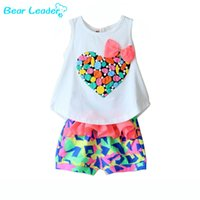 Wholesale Leader T Shirt - Wholesale- Bear Leader clothing sets Girls Set Love Child Sleeveless T-Shirt And Flower Shorts New 2016 Summer Girls Clothes
