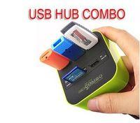 mmc kartenverkauf großhandel-Heiße Verkäufe 3 Port USB Hub 2.0 Hub mit Micro Multi-Kartenleser für SD / MMC / M2 / MS / MP Pro Duo 10631