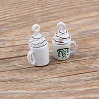 Wholesale Enamel Key Charm - 10pcs lot Zinc Alloy White Coffee Cup Enamel Charm Pendant For Bracelet Key Ring Fashion Jewelry Accessories DIY 12*22mm