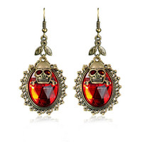 Wholesale Skull Earrings For Men - Fashion Retro skull Punk Ancient bronze plating Double layer skull head big crystal earrings for women and men Halloween party