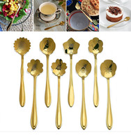 Wholesale Cherry Blossom Tea - Golden Cherry Blossom Spoon Stainless Steel Flower Shape Tea Coffee Spoons Ice Cream Spoon Small Condiment Spoons OOA2466