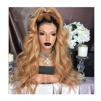 Wholesale Long Dark Red Wavy Wig - Stock fast shipping Glueless Natural White Blonde Ombre Synthetic Lace Front Wig Synthetic Heat Resistant Long Wavy Wigs For Women