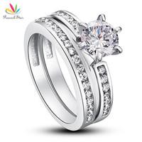 anillo de compromiso de boda de diamante real conjunto al por mayor-Juego de anillos de compromiso de aniversario de aniversario de pavo real Star 1 Ct redondo Creado Diamante Sólido 925 plata esterlina 2-PC CFR8014