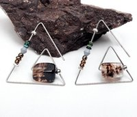 Wholesale Copper Work - Bohemia Copper Stud Earrings Natural Stone Geometric Triangle Earrings Original Design Work High Quality Fine Earrings Factory Price