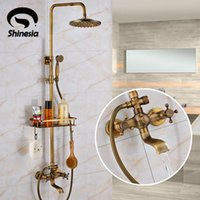 Wholesale Deck Mounted Shower Mixer Taps - Antique Brass Bathroom Shower Faucet With Commodity Shelf And Hangers Mixer Tap Dual Handles Wall Mounted