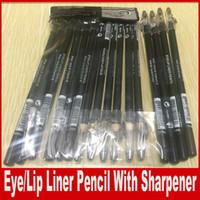 Wholesale e lips - Makeup Eye Lip Liner Pencil With Sharpener Aloe Vera & Vitamin E Black Brown Eyebrow Pencil 1.5g