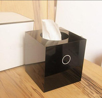 Wholesale Decration For Home - Famous C style Acrylic tissue box VIP gift Luxury Brand with Logo Arcylic Cylinder Tissue Box gift box for home decration for makeup dest
