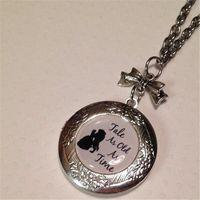 colares de prata venda por atacado-12 pçs / lote Tale tão antiga quanto tempo medalhão colar de prata tom encanto mensagem colar Certo como o sol ..