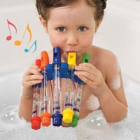 Vente en gros - 5pcs / 1 Row Nouveaux enfants Enfants Colorful Water Flutes Bath Tub Tunes Jouet Fun Music Sounds Bath Toy