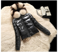 Wholesale Sheepskin Coats Women - 2017 Winter new women's natural fox fur hooded warm genuine sheepskin leather short duck down parka jacket coat 3XL