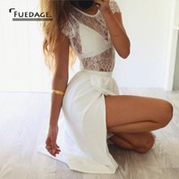 Wholesale Dress Neck Designs Out Lines - Wholesale-summer new design 2 piece set sleeveless hollow out casual lace dress high split maxi dresses