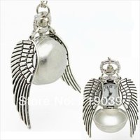 Wholesale Pocket Hp - 10pcs lot Hot wholesale hp silver charm pocket watch wings necklace men and women jewelry 2014,original factory supply