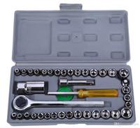kit de herramientas de reparación de motocicletas al por mayor-40pcs Caja de herramientas de reparación de motocicletas de automóvil Caja de herramientas de reparación de automóvil de la llave del coche del kit de destornillador de la manga del coche kit de herramientas de reparación de automóviles