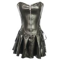 Wholesale Shaper String - Women Plus Size Black Faux Leather S-6XL Strapless Zipper Lingerie Shaper Corset Skirt Set with G-Strings 829