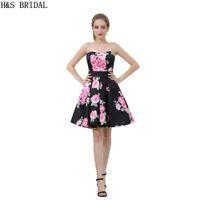 Wholesale Cheap Print Prom Dresses - Black Flore Parttern Short Prom Dresses New Arrival 2017 Girls Cheap Evening Party Prom Dresses B039