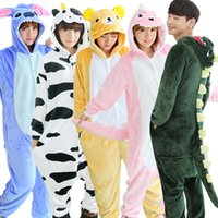 Wholesale Cheap Black Nightgowns - Autumn spring winter flannel lovers couples women animal pajamas one piece cartoon sleepwear kugurumi cheap adult animal onsies
