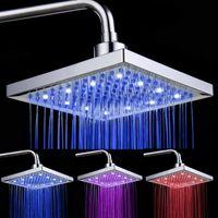 Wholesale Led Faucet Nozzle - Wholesale- 8-inch Temperature Control 3-Color Changing LED Light Square Shaped Water Shower Head Shower Faucet Nozzle Lighting Lamp