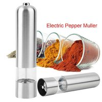 Wholesale Electric Pepper Spice Salt - Stainless Steel Pepper Mill Shaker Pepper Grinder Spice Pepper Mills Electric Salt Mill Cook Tools Family Barbecue Kitchen Mills YYA753