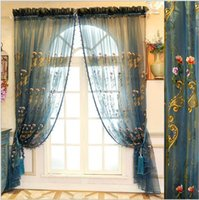 Wholesale Embroidered Tulle Curtains - High quality European luxury embroidered window sheer Curtains Tulle for Living Room Bedroom 4 colors 1pcs wholesale fabric price
