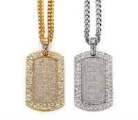 Wholesale Dog Bling Charms - New Bling Smooth Army Card Pendant Iced Out Full Rhinestone Gold Plated Dog Tag Necklace Hip-hop Jewelry women men Gift