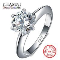 25223846de046 100% Real Sólido 925 Anéis De Prata Esterlina Set 1.5 Quilate Sona CZ  Diamante Anéis De Casamento De Prata para As Mulheres de Prata Jóias Finas  R121