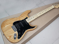 Wholesale Electric Guitar Natural Color - Natural ASH Wood Color Body Electric Guitar with Black Pickguard,3 Pickups,Chrome Hardwares,Offer Customized
