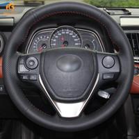 Wholesale rav4 cars - Mewant Black Artificial Leather Car Steering Wheel Cover for Toyota RAV4 2013-2016 Toyota Corolla 2014-2016 Scion iM 2016