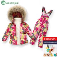Wholesale Snowsuits Child - 1~5 Y NEW winter children clothing sets duck down jacket sets pants-jacket hooded baby girls winter jacket & coat snowsuits
