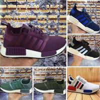 Wholesale Knitting Summer Shoes - 2017 NMD Runner R1 Primeknit PK OG Black Triple White Nice Kicks Circa Knit Men Women Running Shoes Sneakers Originals Classic Casual Shoes