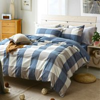cama a cuadros azul tamaño queen al por mayor-Al por mayor-Fashion Plaid lavado algodón gris blanco azul juego de cama 3pcs / 4pcs rey reina tamaño doble funda nórdica conjunto cama hoja plana funda de almohada