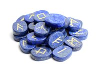 Wholesale lapis lazuli crystal healing - Set of 25 Natural Lapis Lazuli Carved Crystal Reiki Healing Palm Stones Engraved Pagan Lettering Wiccan Rune Stones Set with a Free Pouch