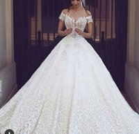 Wholesale cathedral wedding dress embroidery - Luxury Ball Gown Wedding Dresses 2017 Full Embroidery Royal Train White Lace Bridal Gowns Sexy V Neck Short Sleeves Wedding Gowns