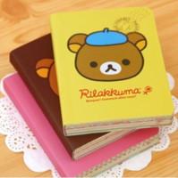 impresión de la cubierta del libro al por mayor-Al por mayor- Kawaii Cartoon Rilakkuma Print Cover Color Page Mini Notebook Agenda Bloc de notas Libro de viaje KCS