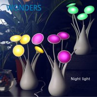 Wholesale Electric Led Wire Lights - Wholesale- HOT decorative Electric light control Induction Dream flower Lamp,LED USB wire led night light desk sleeping lamp