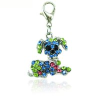 Hot selling Fashion Floating Charms With Lobster Clasp Rhinestone Big Ear Dog Animals DIY Charms For Jewelry Making Accessories